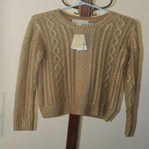 Michael Kors Metallic Dark Camel Womens Sweater M